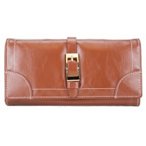 L1149 - Miss Lulu Classic Style Leather Look Buckle Purse Coffee