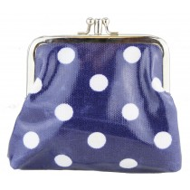 Coin Purse Oilcloth Polka Dot Navy