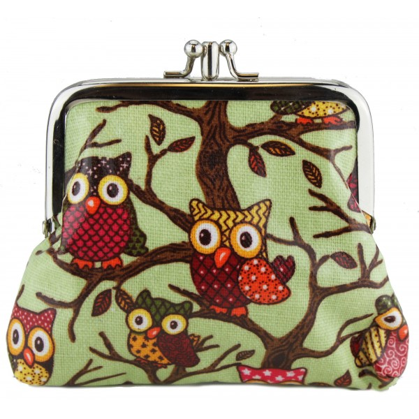 Coin Purse Oilcloth Owl Green