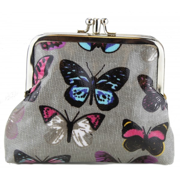 Coin Purse Oilcloth Butterfly Grey