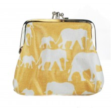Coin Purse Oilcloth Elephant Beige