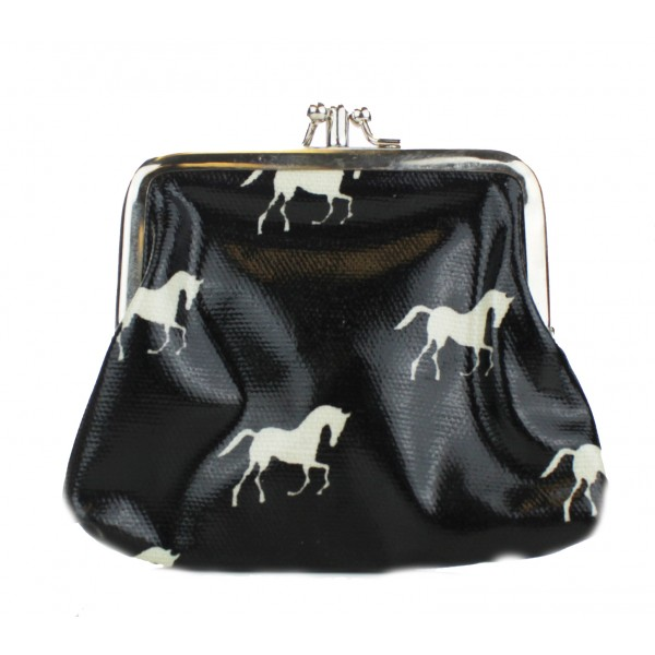 Coin Purse Oilcloth Horse Black