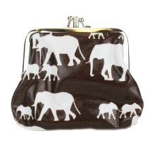 Coin Purse Oilcloth Elephant Brown