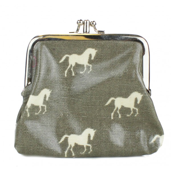 Coin Purse Oilcloth Horse Grey