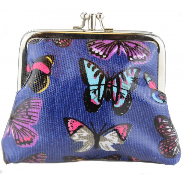 Coin Purse Oilcloth Butterfly Navy