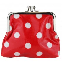 Coin Purse Oilcloth Polka Dot Red