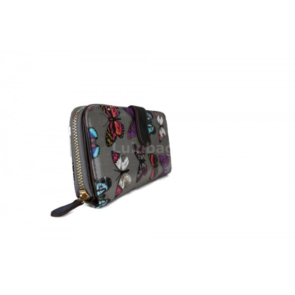 L1109B - Miss Lulu Oilcloth Purse Butterfly Grey