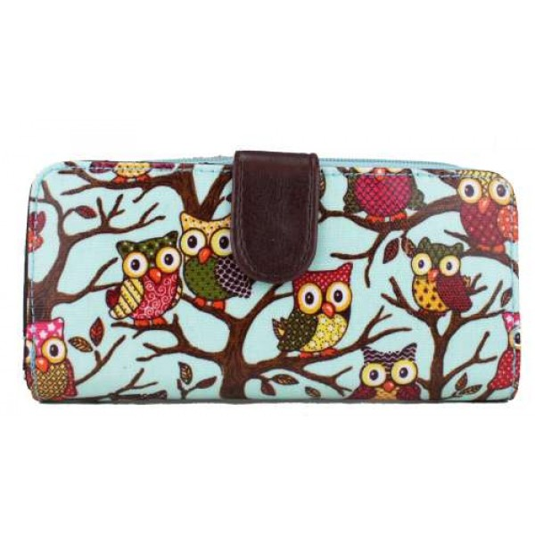 L1109W - Miss Lulu Oilcloth Purse Owl Blue