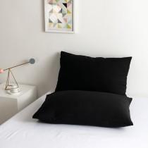 100% Algodon poli Lujo Suave Funda de almohada Conjunto - negro