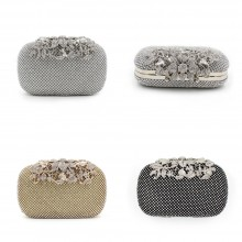 3326 - Studded Flower Clasp Hard Shell Clutch Evening Bag