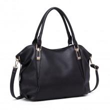 S1716 - Miss Lulu Soft Leather Look Slouchy Hobo Shoulder Bag - Black