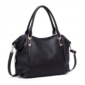 S1716 - Miss Lulu Soft Leather Look Slouchy Hobo Shoulder Bag - Black