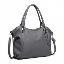 S1716 - Miss Lulu Soft Leather Look Slouchy Hobo Shoulder Bag - Dark Grey