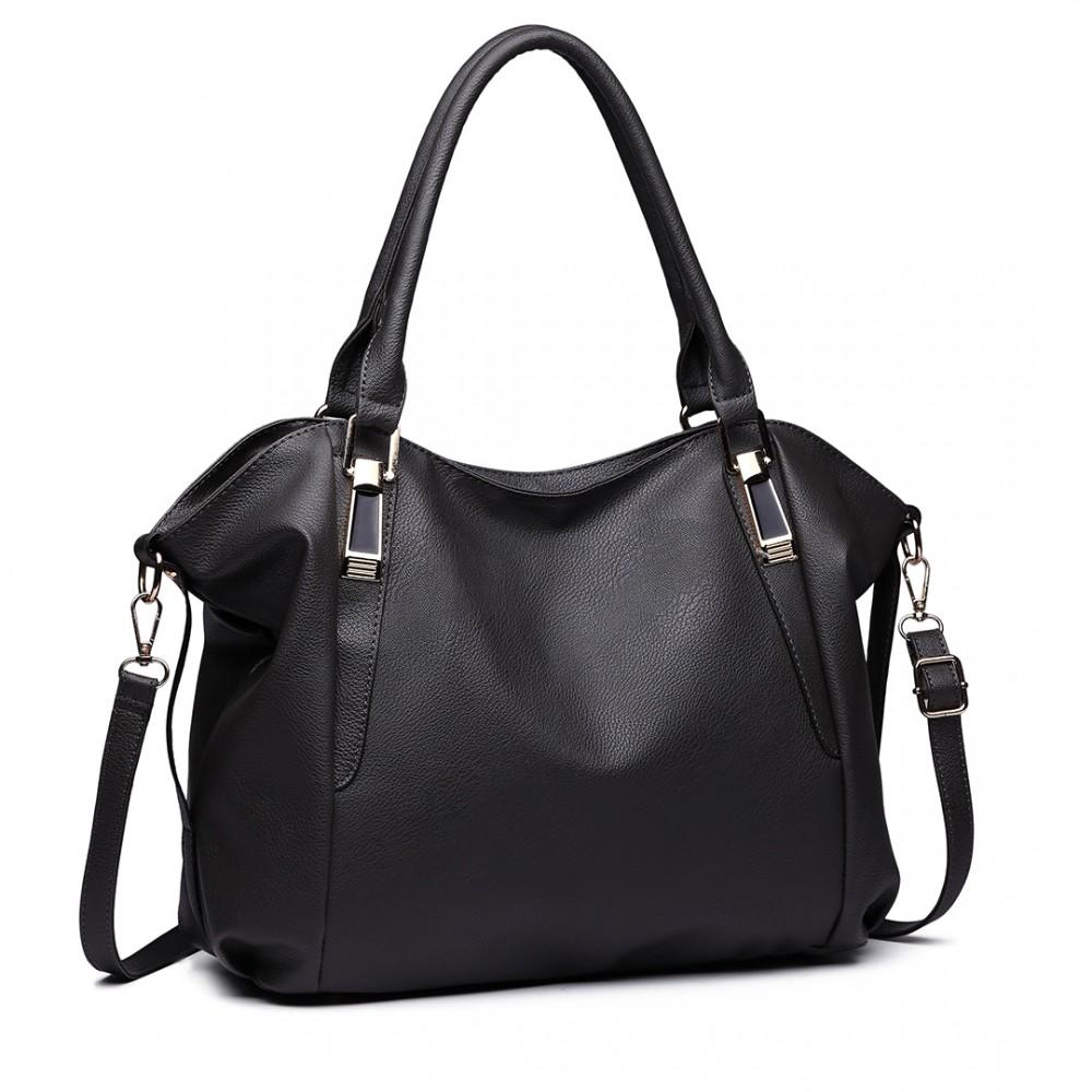 e6981578e408 S1716 DGY - Miss Lulu Soft Leather Look Slouchy Hobo Shoulder Bag Dark Grey