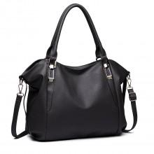 S1716 DGY - Miss Lulu Soft Leather Look Slouchy Hobo Shoulder Bag Dark Grey