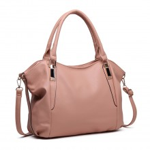 S1716 - Miss Lulu Soft Leather Look Slouchy Hobo Shoulder Bag Nude