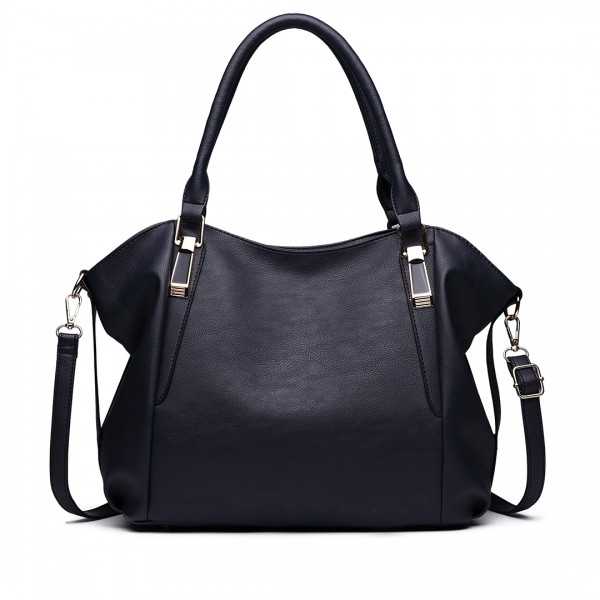 S1716 - Miss Lulu Soft Leather Look Slouchy Hobo Shoulder Bag - Navy