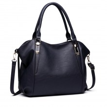 S1716 NY - Miss Lulu Soft Leather Look Slouchy Hobo Shoulder Bag Navy