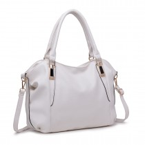 S1716 - Miss Lulu Soft Leather Look Slouchy Hobo Shoulder Bag White