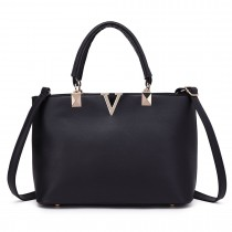 S1717 - Miss Lulu Shoulder Bag Black