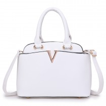 S1718 - Miss Lulu Bowler Bag White