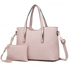 S1719 - Miss Lulu PU leather handbag & Purse Beige
