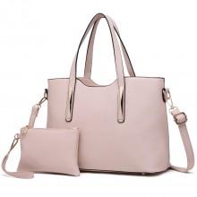 S1719 - Miss Lulu PU Leather Handbag & Purse - Beige