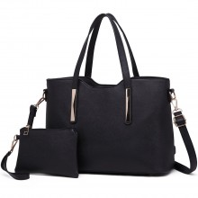 S1719 - Miss Lulu PU Leather Handbag & Purse - Black