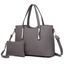 S1719 - Miss Lulu PU leather handbag & Purse Grey