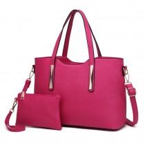 S1719 - Miss Lulu PU leather handbag & Purse Pink