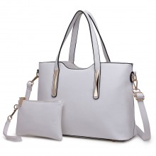 S1719 - Miss Lulu PU leather handbag & Purse White