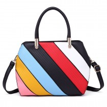 S1720 - Miss Lulu Multi Colour Stripe Shoulder Bag