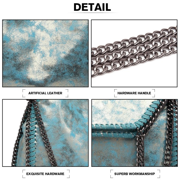 S1760 - Miss Lulu Metallic Effect Chain Tote Bag - Blue