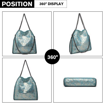 S1760-MISS LULU METALLIC EFFECT LEATHER CHAIN AROUND HANDBAG SHOULDER BAG BLUE
