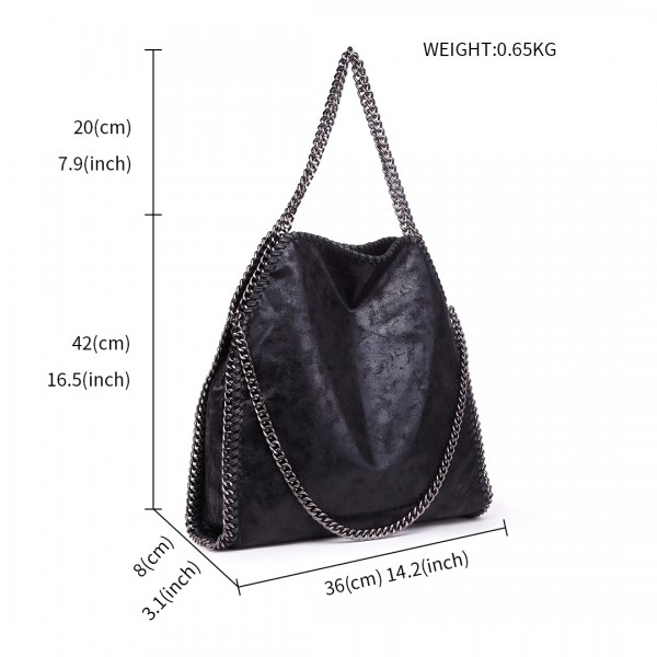 S1760 - Miss Lulu Metallic Effect Chain Tote Bag - Black