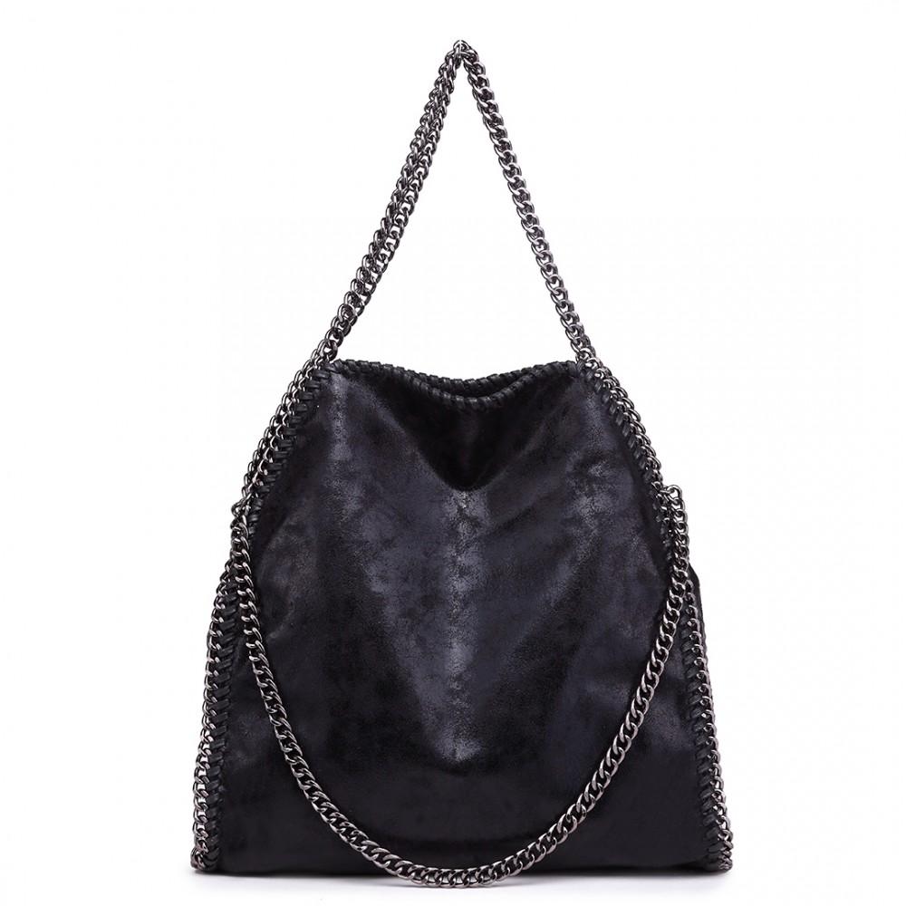 2a9d5252e06 S1760 - Miss Lulu Metallic Effect Chain Tote Bag - Black