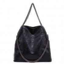 S1760 BK - Miss Lulu Chain Around Large Slouch Hobo Handbag Black
