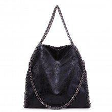 S1760 - Miss Lulu Metallic Effect Chain Tote Bag - Black