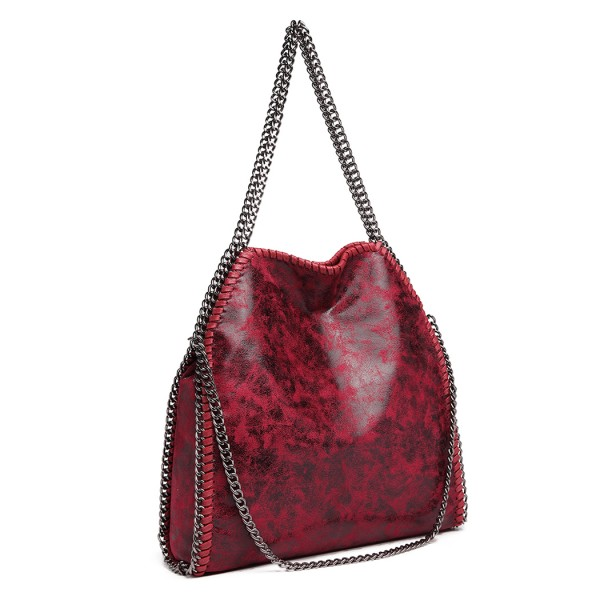 S1760 - Miss Lulu Metallic Effect Chain Tote Bag - Burgundy
