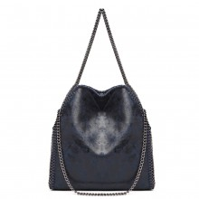 S1760 - Miss Lulu Metallic Effect Chain Tote Bag - Dark Blue
