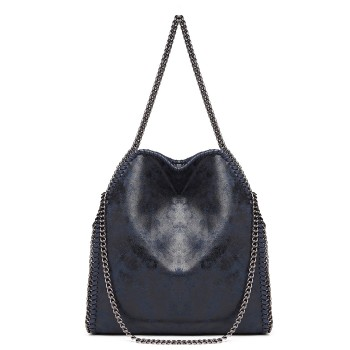 S1760-MISS LULU METALLIC EFFECT LEATHER CHAIN AROUND HANDBAG SHOULDER BAG DARK BLUE