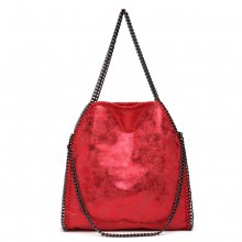 S1760 - Miss Lulu Metallic Effect Chain Tote Bag - Dark Red