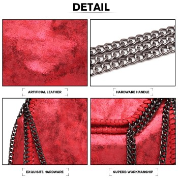 S1760-MISS LULU METALLIC EFFECT LEATHER CHAIN AROUND HANDBAG SHOULDER BAG DARK RED