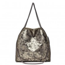 S1760 - Miss Lulu Metallic Effect Chain Tote Bag - Gold