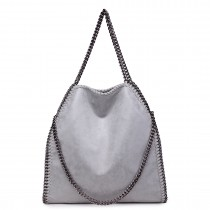 S1760 GY - Miss Lulu Chain Around Large Slouch Hobo Handbag Grey