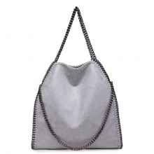S1760 - Miss Lulu Metallic Effect Chain Tote Bag - Grey