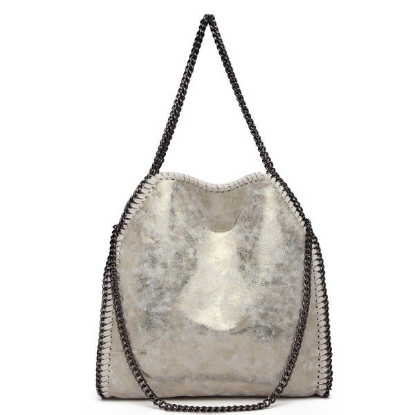 S1760 - Miss Lulu Metallic Effect Chain Tote Bag - Light Gold