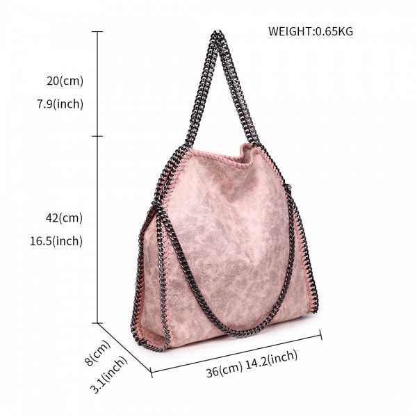 S1760 - Miss Lulu Metallic Effect Chain Tote Bag - Nude