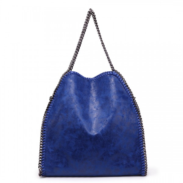 S1760 - Miss Lulu Metallic Effect Chain Tote Bag - Navy