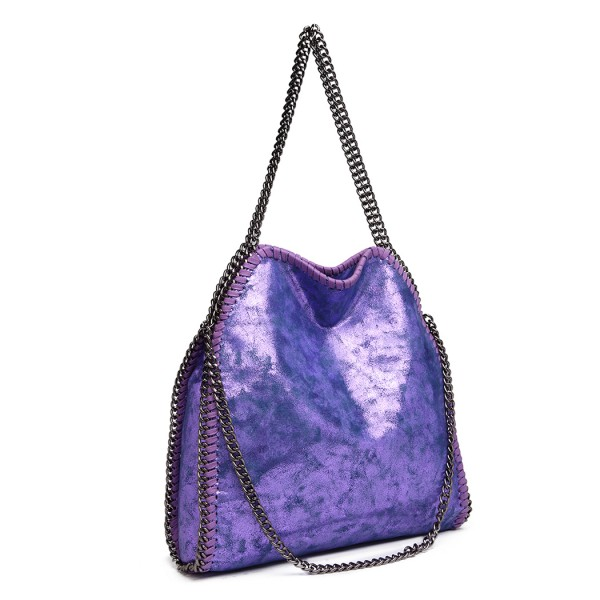 S1760 - Miss Lulu Metallic Effect Chain Tote Bag - Purple